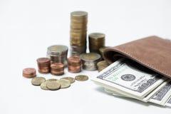 Concepto tailandés del tipo de cambio de moneda, negocio de información del fondo i Fotos de archivo