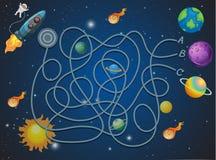 Concepto temático del laberinto del espacio ilustración del vector