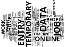 Concepto temporal de Job Text Background Word Cloud de la entrada de datos Imagen de archivo libre de regalías