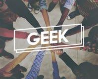 Concepto torpe peculiar del empollón Geeky divertido del friki diverso Imagen de archivo libre de regalías