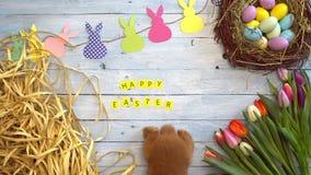 Concepto tradicional del símbolo del conejo de la celebración mullida de pascua cerca de la opinión superior de la enhorabuena metrajes