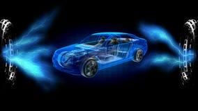 Concepto transparente del coche en holograma 3D rendido ilustración del vector
