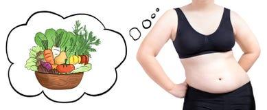 Concepto vegetal de pensamiento de la dieta de la burbuja de la mujer gorda aislado en blanco Foto de archivo