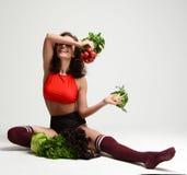 Concepto vegetariano de la comida de la consumición sana dieting Bunc del control de la mujer imagenes de archivo