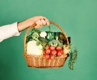 Concepto vegetariano de la nutrición El granjero sostiene la col, rábano, pimienta, bróculi, zanahoria foto de archivo
