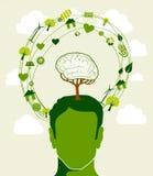Concepto verde de la cabeza del árbol de las ideas Imagen de archivo libre de regalías