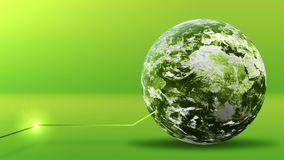 Concepto verde de la energía, planeta de la tierra verde con la línea Elementos equipados por la NASA metrajes