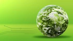 Concepto verde de la energía, planeta de la tierra verde con las líneas Elementos equipados por la NASA almacen de metraje de vídeo