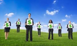 Concepto verde de la muestra de dólar del cartel del negocio Foto de archivo libre de regalías