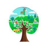 Concepto verde del árbol de la ciudad para el cuidado del ambiente stock de ilustración
