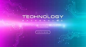 Concepto verde del fondo del rosa de la bandera de la tecnología con efectos luminosos ilustración del vector