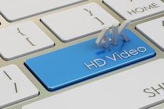 concepto video de 4K HD en el botón del teclado, representación 3D Fotos de archivo libres de regalías