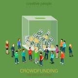 Concepto voluntario crowdfunding 3d plano de la idea del negocio isométrico ilustración del vector