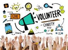 Concepto voluntario de la ayuda de la donación del trabajo de la caridad y del alivio Foto de archivo