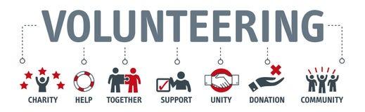 Concepto voluntario voluntario del vector de la bandera que se ofrece voluntariamente con el icono ilustración del vector