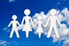Concepto y cielo de familia Foto de archivo libre de regalías