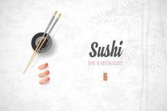 Conceptontwerp van het restaurant van uitnodigingssushi Vectorillust Stock Fotografie