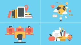 Conceptos animados de la educación y del aprendizaje electrónico libre illustration