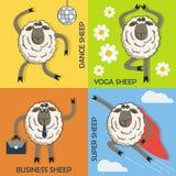 Conceptos coloridos de la historieta de las ovejas fijados Vector Fotografía de archivo libre de regalías