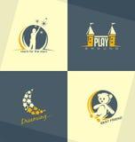 Conceptos de diseño únicos y minimalistic del logotipo de los niños Imágenes de archivo libres de regalías
