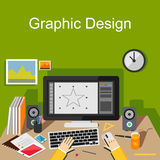 Conceptos de diseño planos para el diseño gráfico, dibujo digital, diseñador