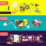 Conceptos de diseño planos para el proceso creativo Foto de archivo libre de regalías
