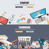 Conceptos de diseño planos para el trabajo en equipo y el inicio Fotografía de archivo