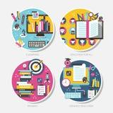 Conceptos de diseño planos para la educación Foto de archivo libre de regalías