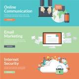 Conceptos de diseño planos para las comunicaciones en línea ilustración del vector