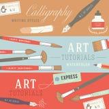 Conceptos de diseño planos para los cursos del arte Imagenes de archivo