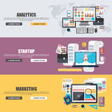Conceptos de diseño planos para el márketing de negocio, los analytics, el trabajo en equipo, el análisis, la estrategia y el ini Imagen de archivo libre de regalías