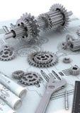 Conceptos de la ingeniería de la maquinaria Imágenes de archivo libres de regalías