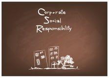 Conceptos de la responsabilidad social corporativa en la pizarra de Brown Fotos de archivo