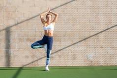 Conceptos de la yoga La mujer de la aptitud en ropa de deportes está haciendo ejercicio encendido imágenes de archivo libres de regalías