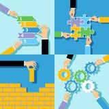 Conceptos de las manos del negocio fijados Imagenes de archivo