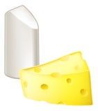 Conceptos de los contrarios de la tiza y del queso Foto de archivo libre de regalías