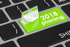 2018 conceptos de planificación en el teclado, representación 3D Foto de archivo libre de regalías