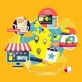 Conceptos de proceso del comercio electrónico en diseño plano stock de ilustración