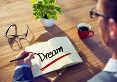 Conceptos de Thinking About Dream del hombre de negocios Fotografía de archivo libre de regalías