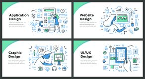 Conceptos del diseño y del garabato del color del desarrollo stock de ilustración