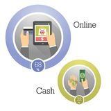 conceptos del ejemplo del vector de formas de pago Iconos planos del diseño para los pagos al contado móviles, electrónicos y Fotos de archivo