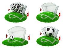 Conceptos del fútbol - sistema de los ejemplos 3D Foto de archivo libre de regalías