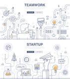 Conceptos del garabato del inicio y del trabajo en equipo