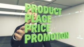 conceptos del hombre de negocios 3d y del márketing en un fondo futurista ilustración del vector