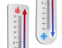 Conceptos del termómetro Imágenes de archivo libres de regalías