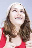 Conceptos e ideas dentales Adolescente femenino caucásico con los dientes Fotografía de archivo