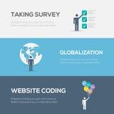 Conceptos planos de Internet Codificación, globalización y encuesta sobre del sitio web Fotografía de archivo