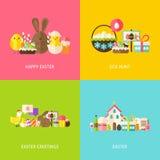Conceptos planos de los saludos felices de Pascua fijados Imagen de archivo libre de regalías