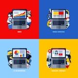 Conceptos planos de SEO, diseño web, comercio electrónico, medio social del vector Fotos de archivo