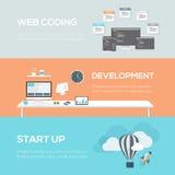 Conceptos planos del diseño web Codificación, desarrollo y inicio del web Fotografía de archivo libre de regalías